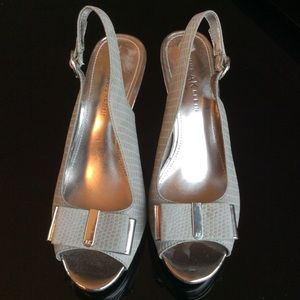 Anne Klein Grey Peep Toe Sling with Silver Heel